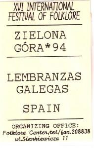 1994 Zielona Gora credencial